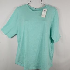 EILEEN FISHER Green RNDNK Crew Neck TOP